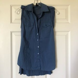 BCBGMaxAzria blue button up tank with cotton back